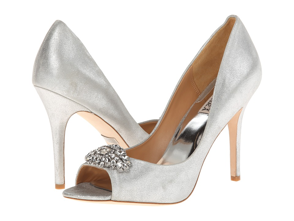 Badgley Mischka - Lavender (Silver Metallic Suede) High Heels