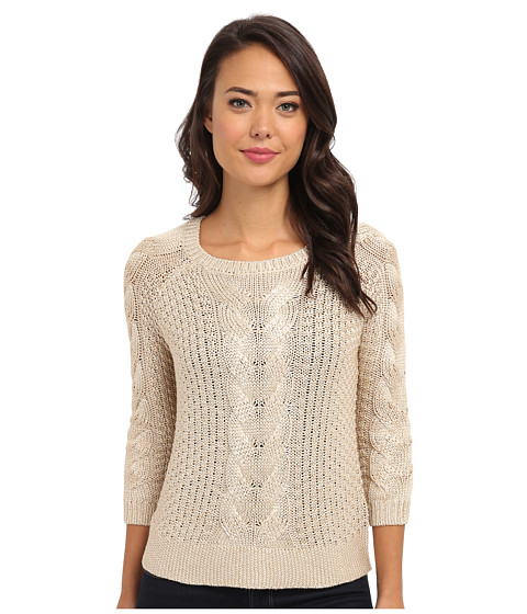 Yumi - Metallic Cable Knit Jumper (Gold) Women's Long Sleeve Pullover
