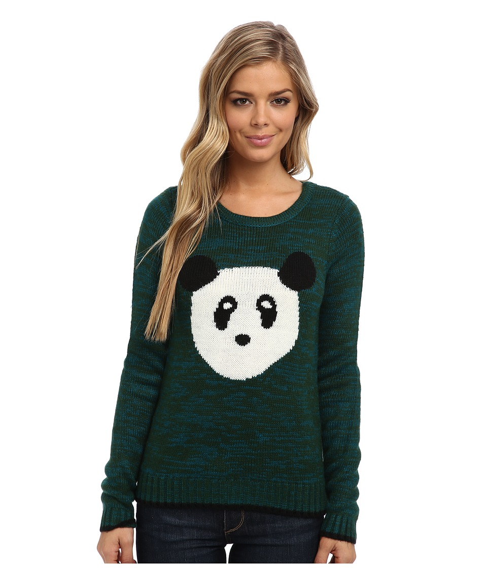 Yumi - Knitted Jumper With Panda Face Intarsia (Green) Women's Sweater