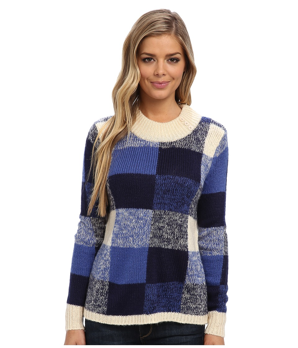 Yumi - Oversized Check Jumper With Button Neck Detailing (Blue) Women's Sweater