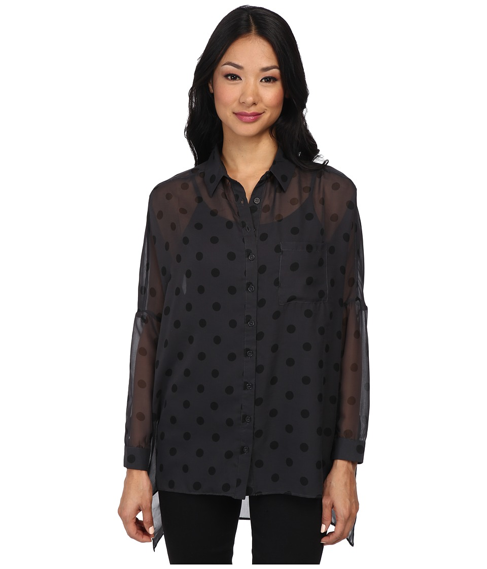 Yumi - Spot Print Oversized Shirt (Grey) Women's Blouse