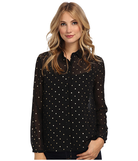 Yumi - Foil Star Print Shirt (Black) Women's Clothing