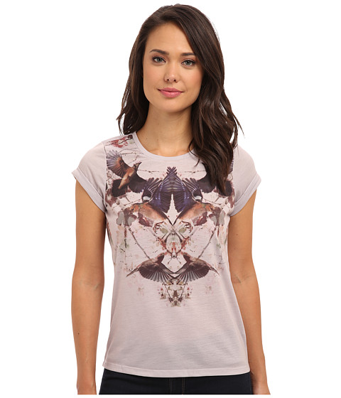 Yumi - Printed Bird Top With Rolled Up Sleeves (Off White) Women's T Shirt