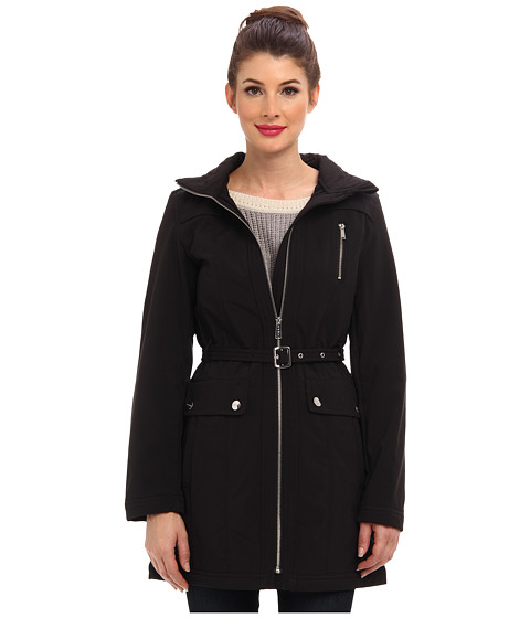 DKNY - Belted Soft Shell Walker Coat 51019-Y4 (Black) Women's Coat