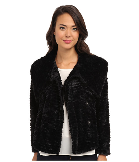 Yumi - Faux Fur Jacket With Single Button Fastening (Black) Women's Coat