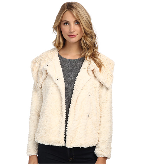 Yumi - Faux Fur Jacket With Single Button Fastening (Cream) Women's Coat