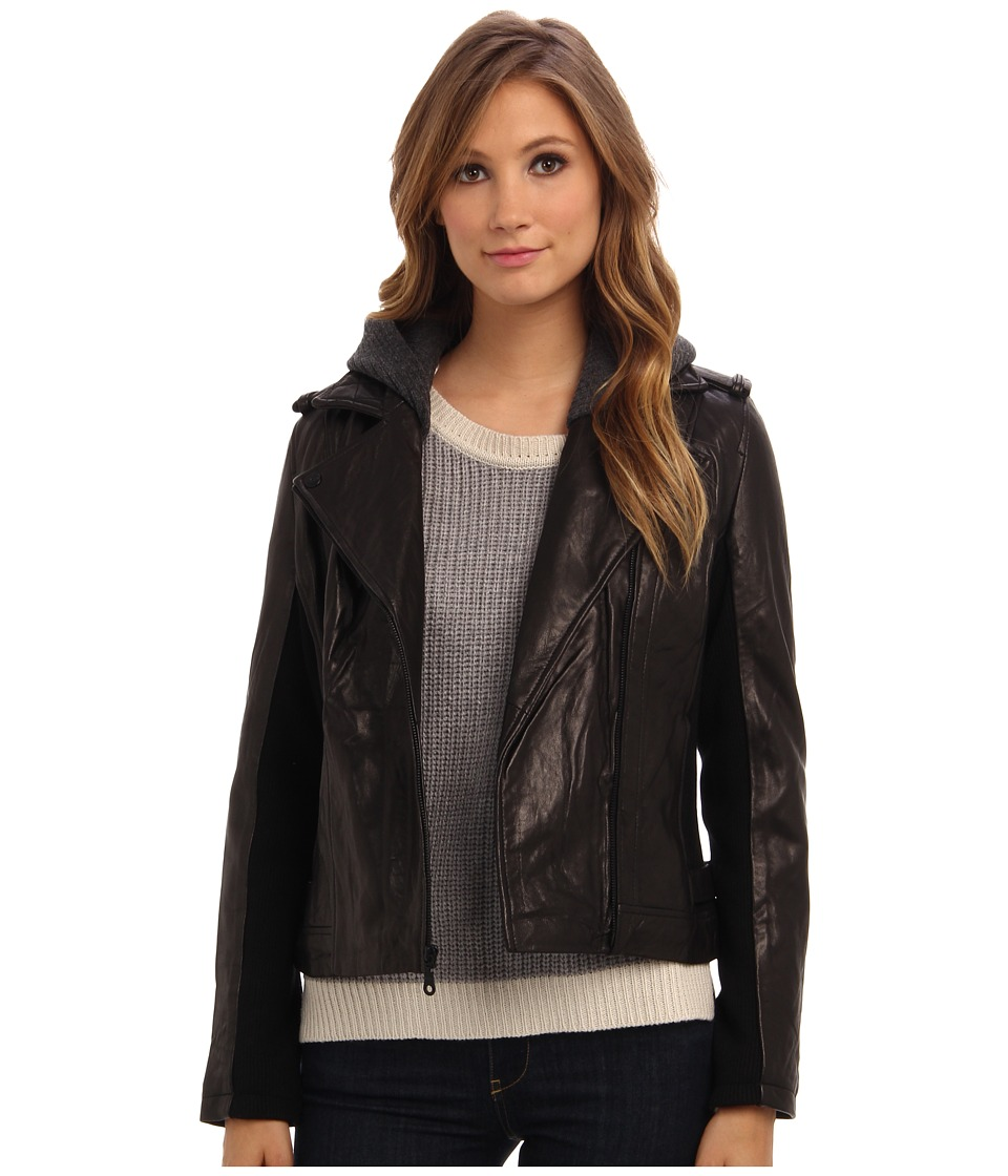 DKNY - Zip Front Moto Jacket w/ Sweatshirt Detail 18096-Y4 (Black) Women's Coat