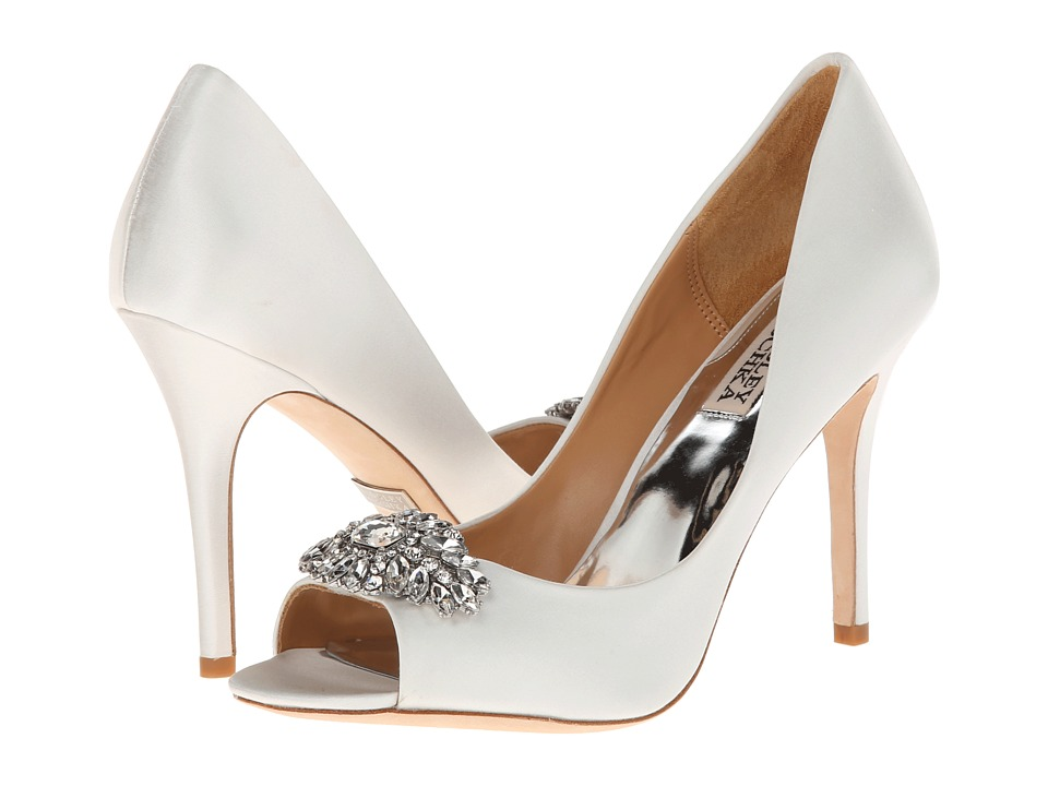 Badgley Mischka Lavender II (White Satin) High Heels