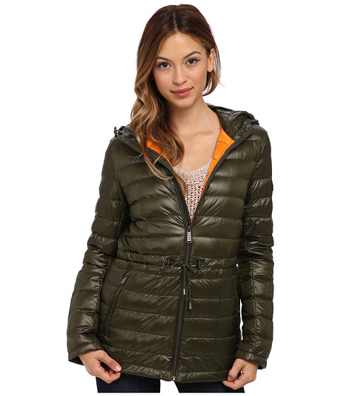 DKNY - 27 Hooded Packable 97165-Y4 (Loden/Goldfish) Women's Coat