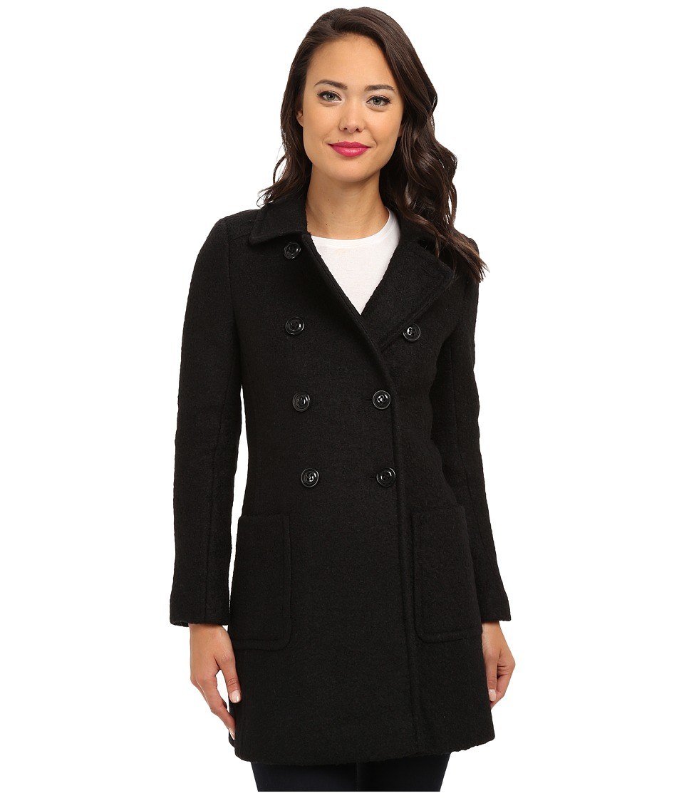 DKNY - Double Breasted Boucle Coat 55198-Y4 (Black) Women's Coat
