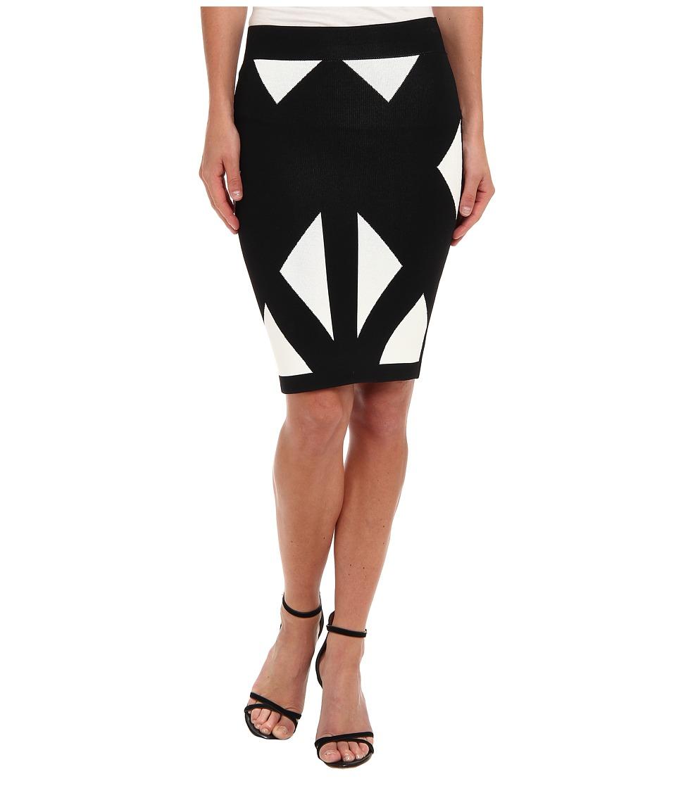 BCBGMAXAZRIA - Natalee Geometric Jacquard Skirt (Black Combo) Women's Skirt