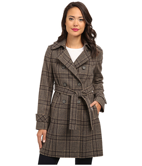 DKNY - Double Breasted Menswear Plaid Trench Coat 93809-Y4 (Brown Multi) Women's Coat