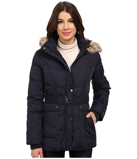 DKNY - Belted Faux Fur Hooded 31922-Y4 (Midnight) Women's Coat