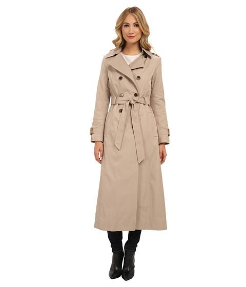 DKNY - Long Maxi Rain Coat 06743X-Y4 (Sand) Women's Coat
