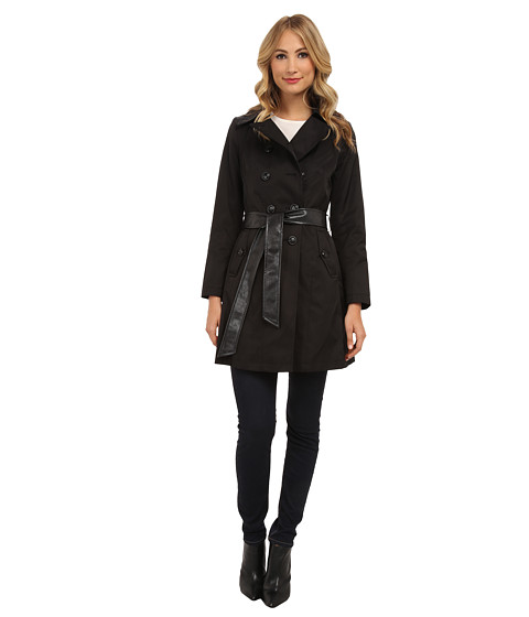 DKNY - Double Breasted Belted Trench Coat w/ Faux Leather Trim 06200-Y4 (Black) Women's Coat