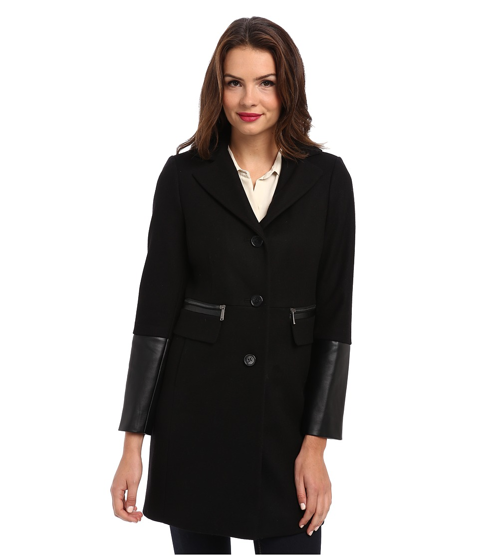 DKNY - SB Reefer w/ Half Leather Sleeve 14855-Y4 (Black) Women's Coat