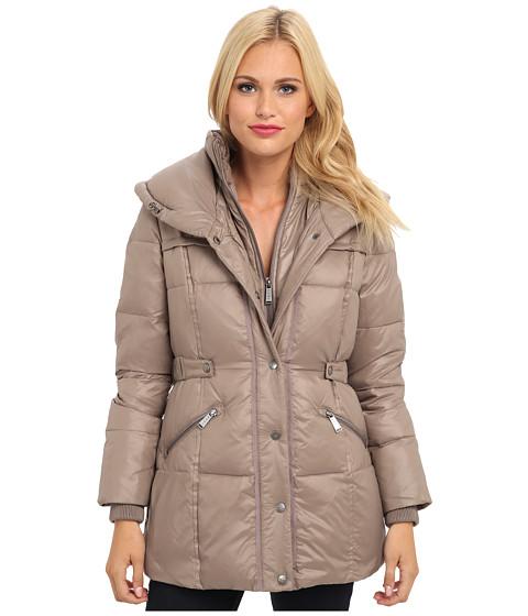 DKNY - Short Pillow Collar 97032-Y4 (Mushroom) Women's Coat