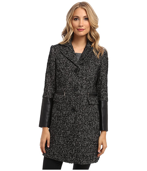 DKNY - Tweed Reefer Coat 50855-Y4 (Black/White) Women's Coat