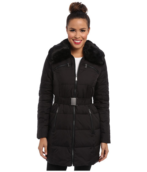 DKNY - Belted Faux Fur Collar 31848-Y4 (Black) Women's Coat