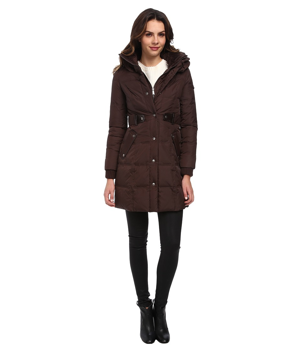DKNY - 3/4 Pillow Collar Coat DKF113-Y4 (Cocoa) Women's Coat