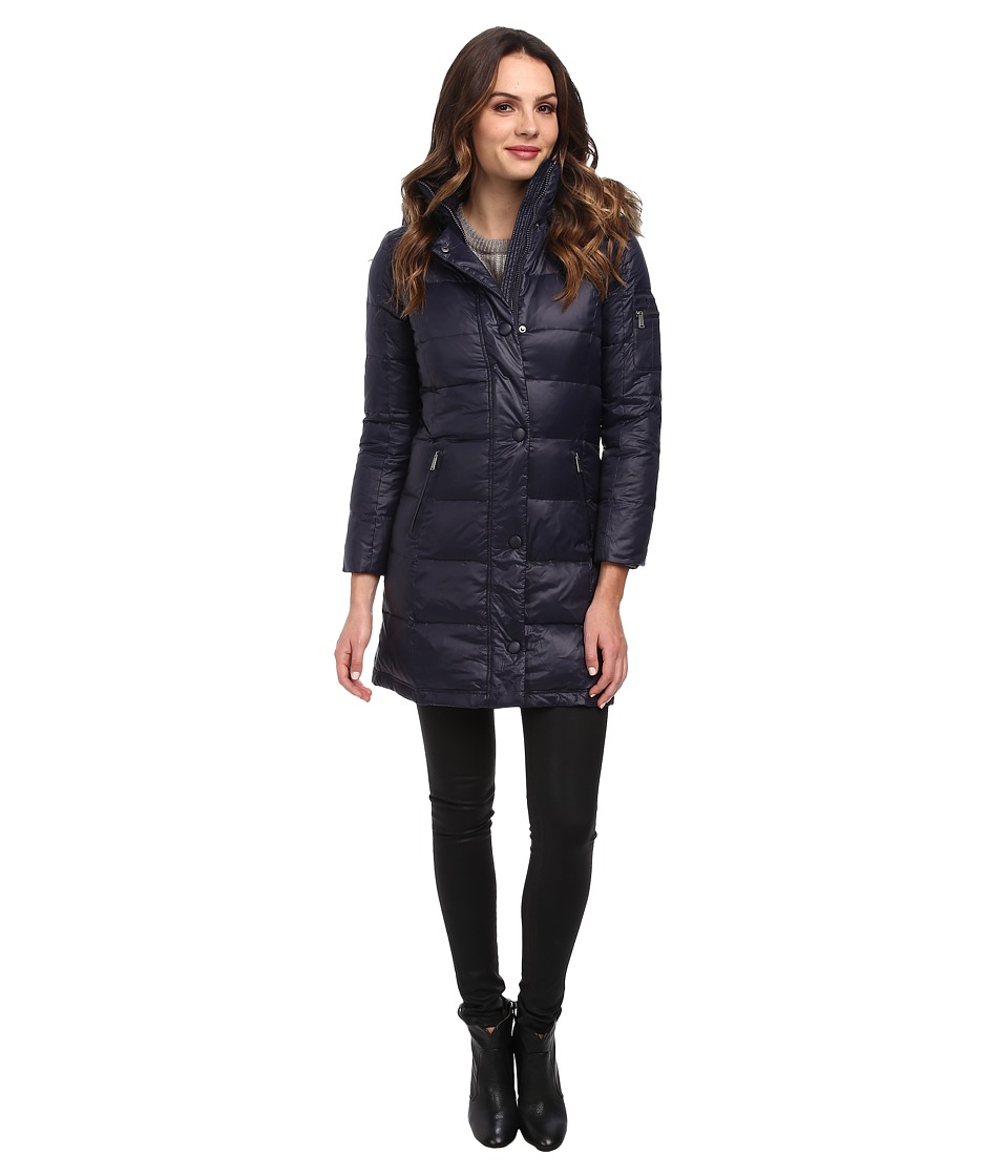 DKNY - Hooded Shine Snap Front Coat 97141-Y4 (New Midnight) Women's Coat