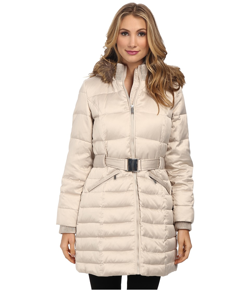 DKNY - Satin 3/4 Belted 75062-Y4 (Beige) Women's Coat