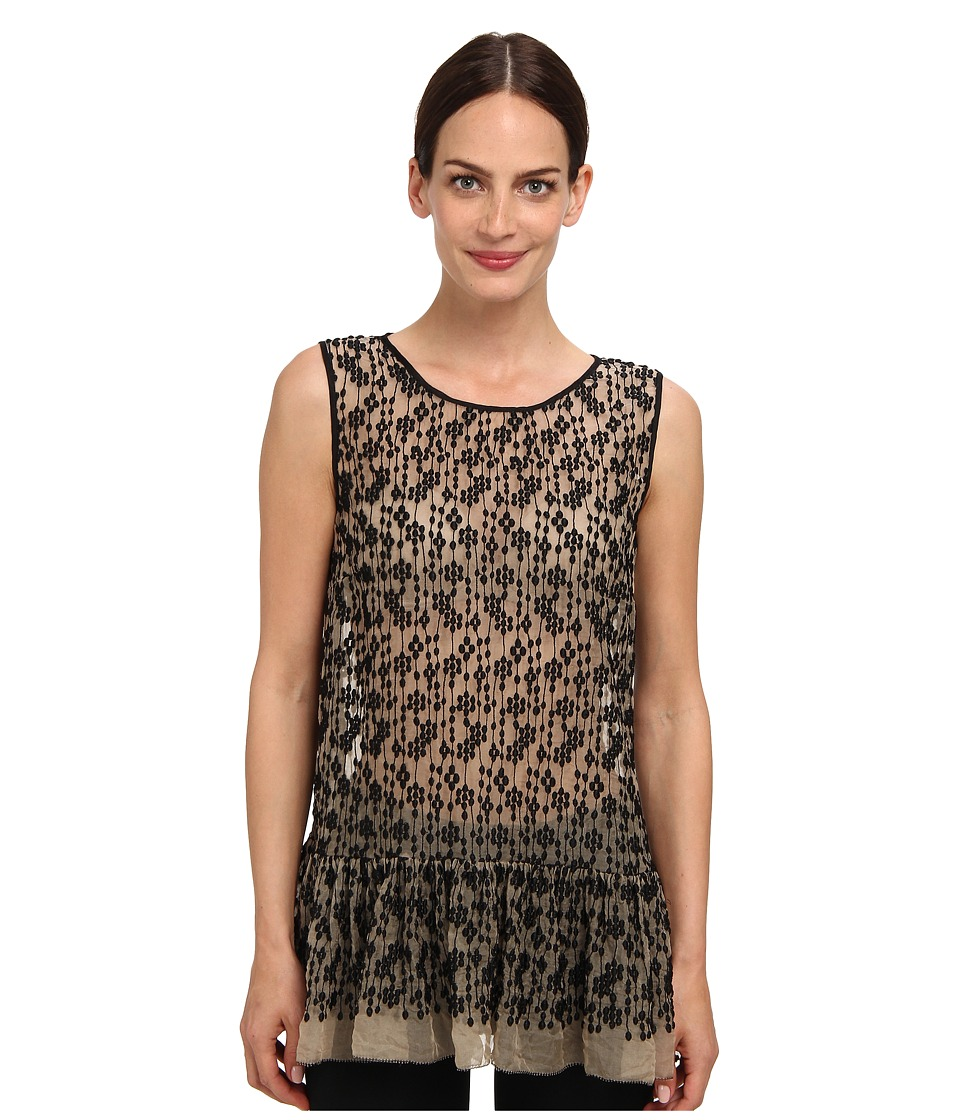 RED VALENTINO - Top ORG. Seta (Black/Natural) Women's Sleeveless