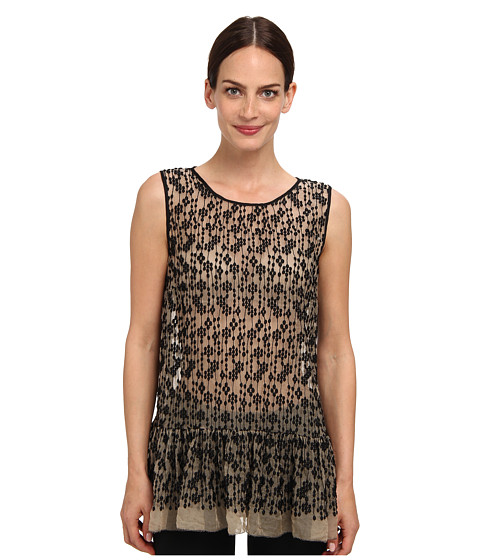 RED VALENTINO - Top ORG. Seta (Black/Natural) Women