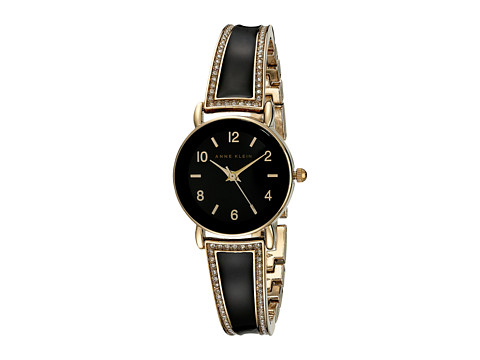 Anne Klein - AK-1028BKGB Swarovski Crystal Accented Black And Gold-Tone Bangle Watch (Gold/Black) Watches