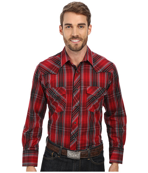 Roper - 9459 Red Black Plaid (Red) Men's Clothing
