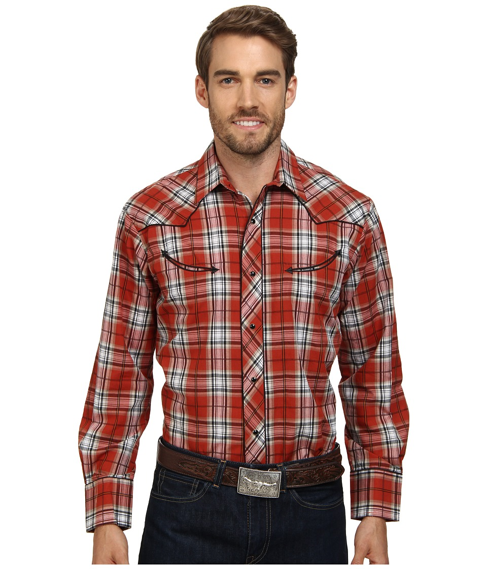 Roper - 9467 Brick Plaid (Orange) Men's Long Sleeve Button Up