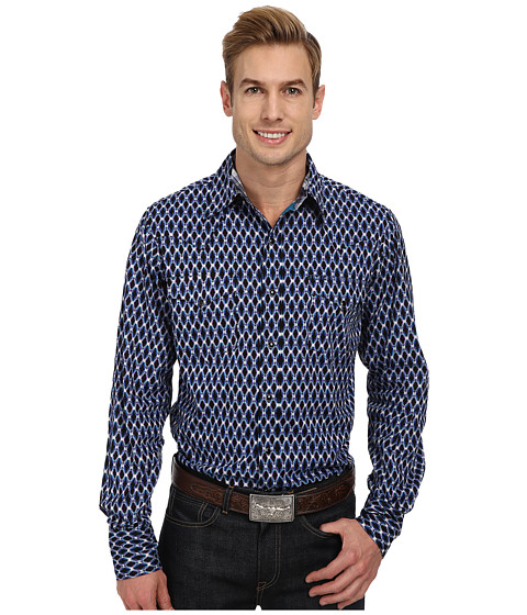 Roper - Jagged Oval (Purple) Men's Long Sleeve Button Up
