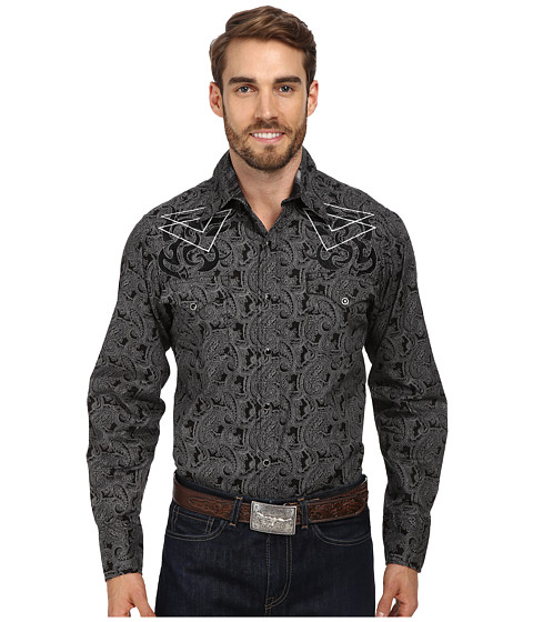 Roper - Line Paisley (Black) Men's Clothing
