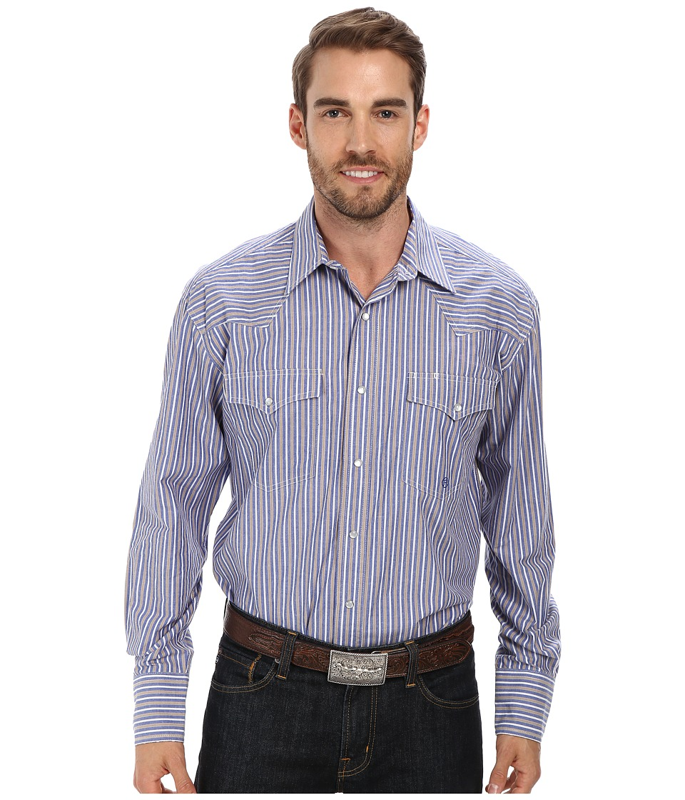 Roper - Neo Ticking (Blue) Men's Long Sleeve Button Up