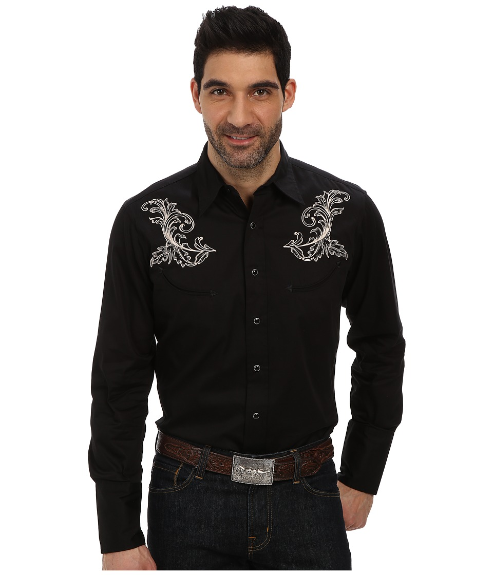 Roper - Old West Baroque Gun Embroidery (Black) Men's Clothing