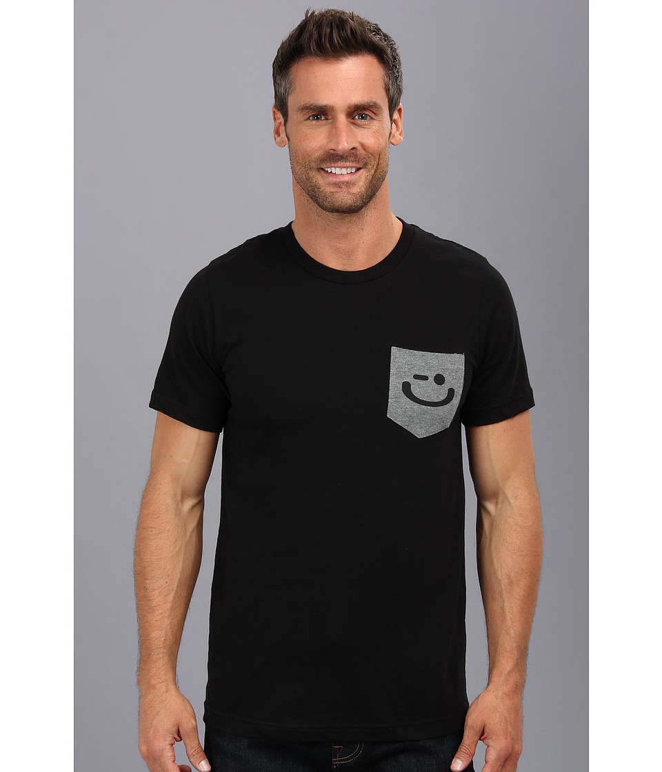 Delivering Happiness - Pocket Winkey Tee (Black) Men's Short Sleeve Pullover