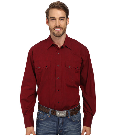 Roper - Solid With Black Fill (Red) Men's Long Sleeve Button Up