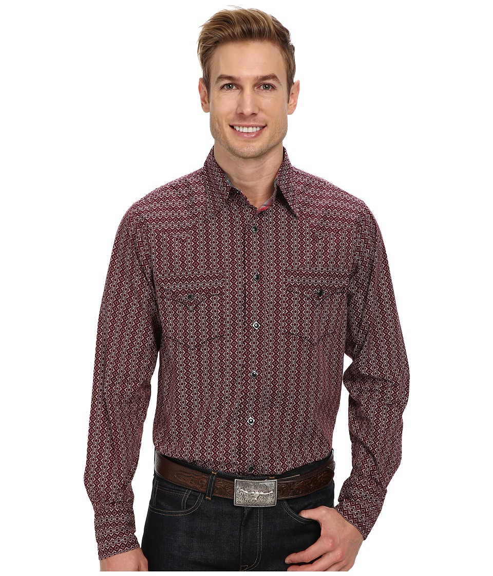 Roper - Red Text (Red) Men's Long Sleeve Button Up