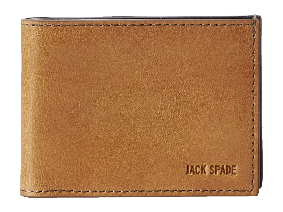 Jack Spade - Mitchell Leather Index Wallet (Saddle/Navy) Bill-fold Wallet