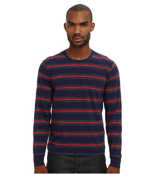 Jack Spade - Lewis Striped Crewneck T-Shirt (Peacoat) Men's T Shirt