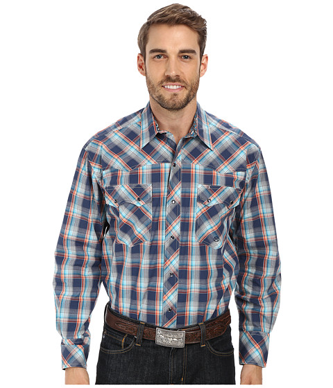 Roper - Tri Color Ombre (Blue) Men's Long Sleeve Button Up