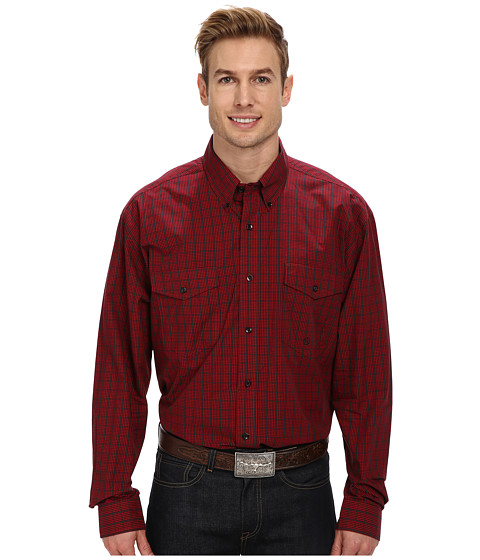 Roper - Window Pane Check (Red) Men's Long Sleeve Button Up