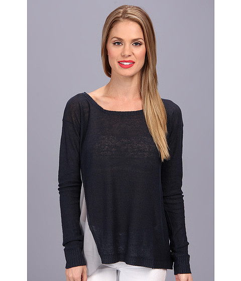 Central Park West - Linen Sweater With Sheer On Side (Smoke) Women's Sweater
