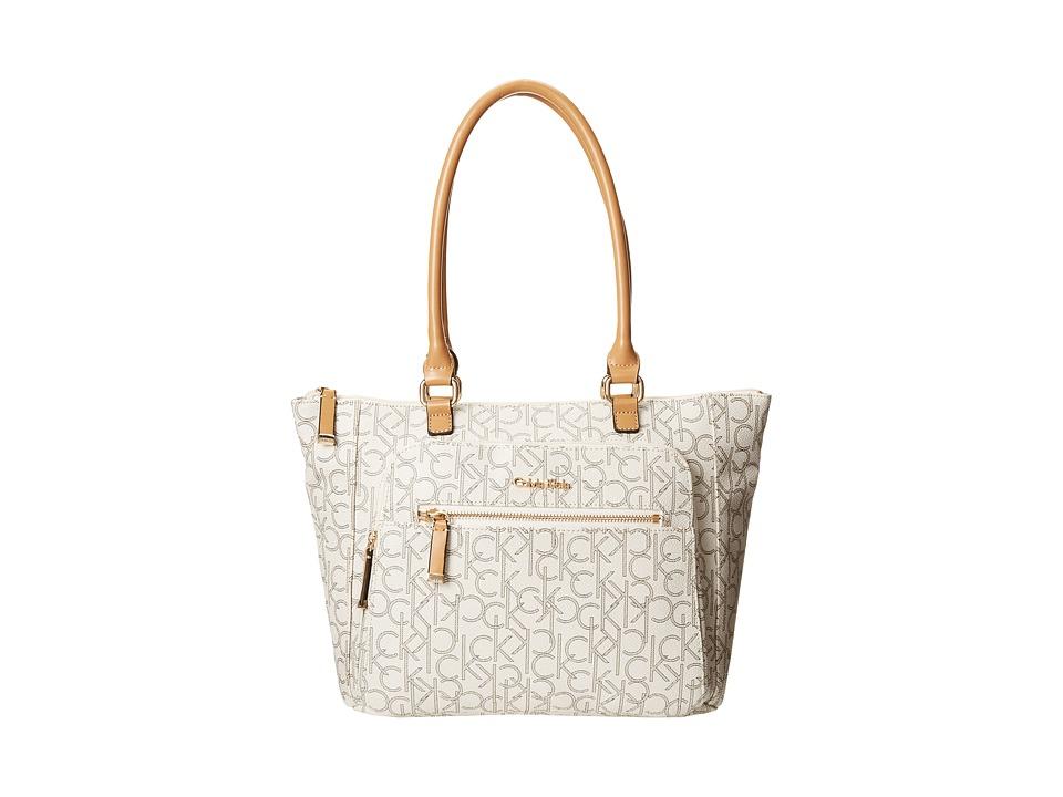 Calvin Klein - Hudson Monogram Tote (Almond/Khaki/Camel) Tote Handbags