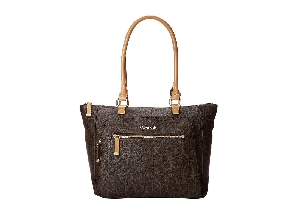 Calvin Klein - Hudson Monogram Tote (Brown/Khaki/Camel) Tote Handbags