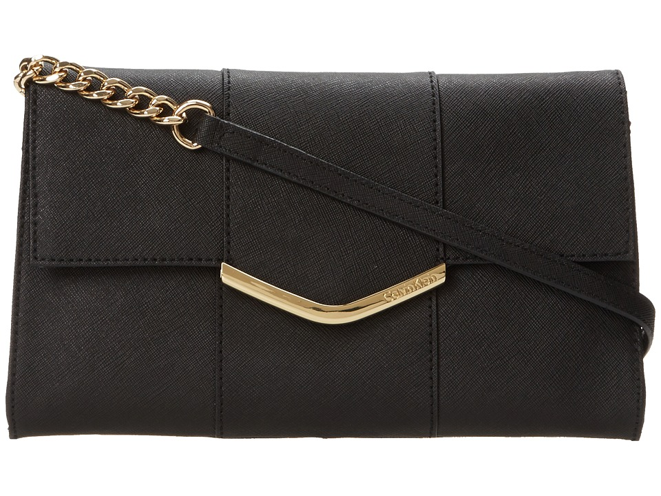 Calvin Klein - On My Corner Saffiano Clutch (Black/Gold) Clutch Handbags