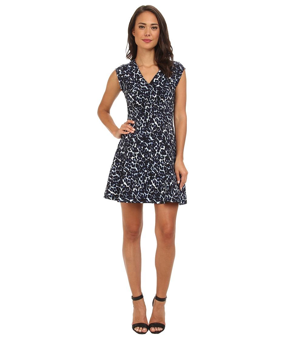 Rebecca Taylor - Short Sleeve Lynx V-Neck Flare Dress (Navy) Women's Dress