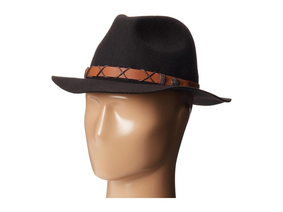 Michael Stars - Top Knot Wide Brim Fedora (Mahogany) Fedora Hats