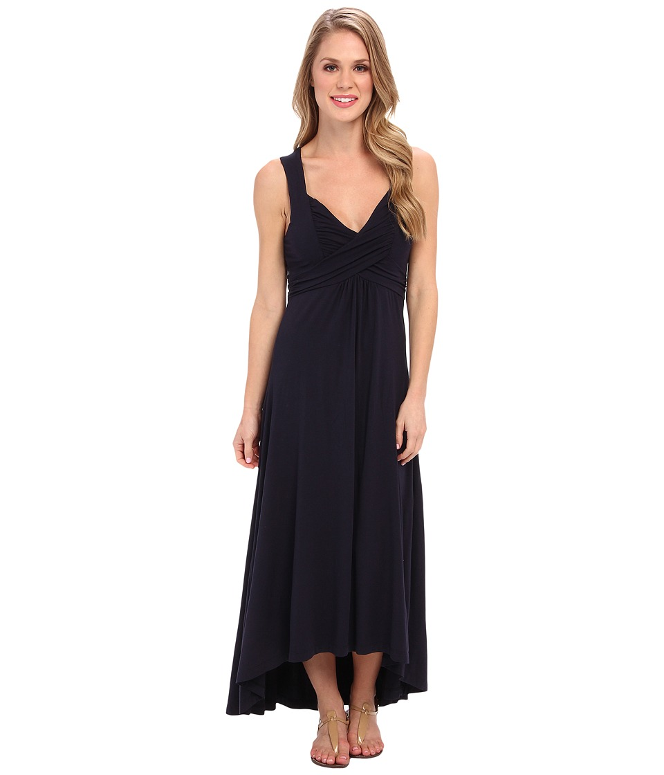 Mod-o-doc - Cotton Modal Spandex Jersey Shirred Crossover Hi-Low Dress (Twilight) Women's Dress