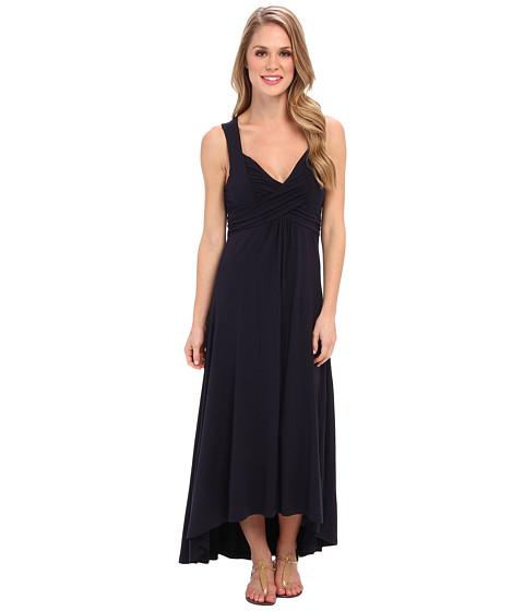 Mod-o-doc - Cotton Modal Spandex Jersey Shirred Crossover Hi-Low Dress (Twilight) Women